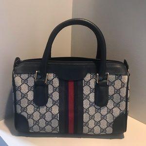 GUCCI Navy GG Monogram Satchel Handbag